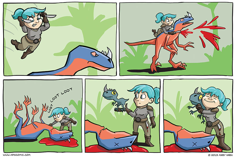 A World of Warcraft comic in which a gnome kills a raptor.