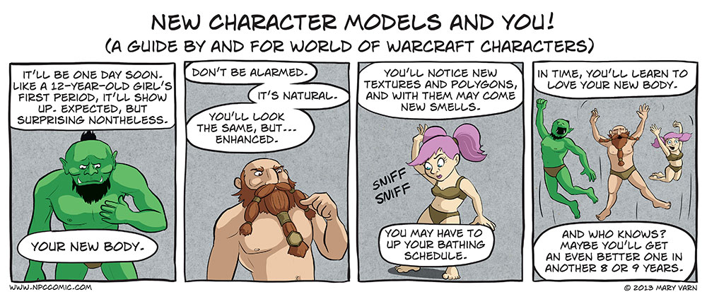 A comic about the new World of Warcraft character models