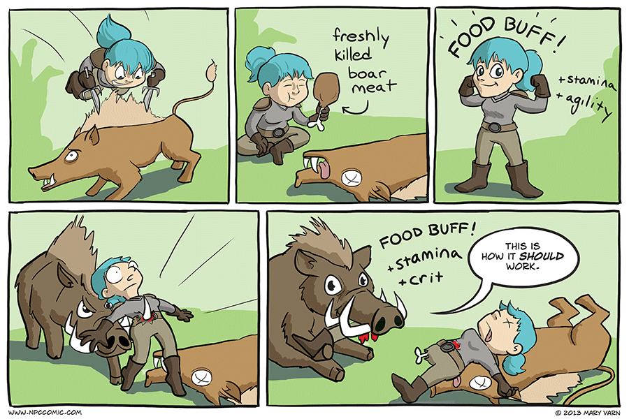 A comic about a gnome and a boar in World of Warcraft