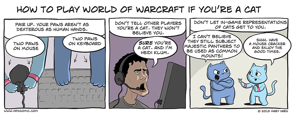 A comic about playing World of Warcraft as a cat