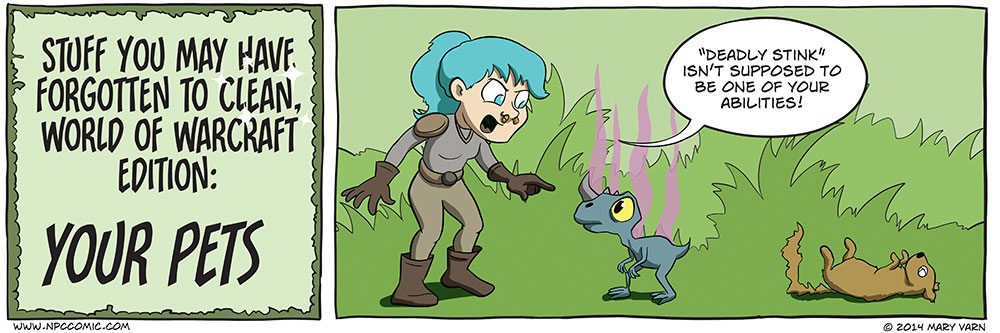 A comic about keeping your World of Warcraft pets clean.