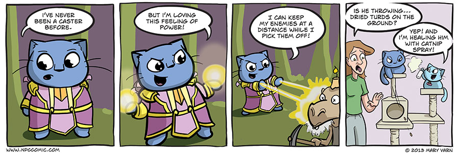 A comic about gamer cats pretending to be a caster in an MMORPG.