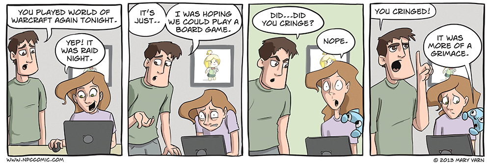 A comic in which a woman would rather play World of Warcraft than a board game with her boyfriend.