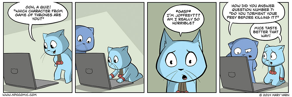 A comic about a cat taking an internet quiz.